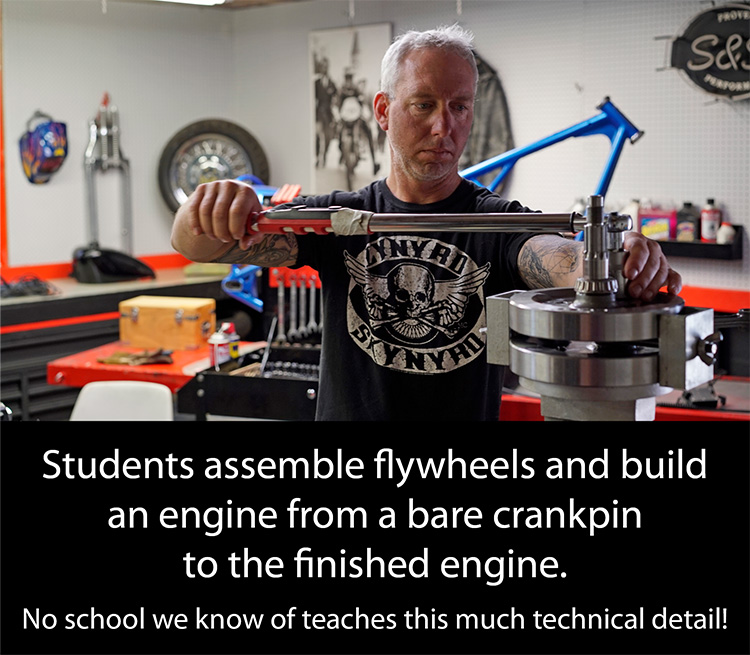 Redline Chopper School Student Assembles Flywheel